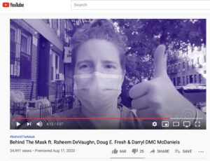 Sarah Nelson, RN, Board Member and Program Manager for Meland's Medical Information Program gives the thumbs up on the new video that helps children deal with the emotions of wearing a mask.
